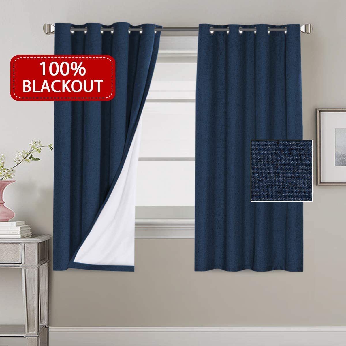 H.VERSAILTEX 100% Blackout Faux Linen Thermal Curtains for Bedroom Energy Efficient Lined Blackout Drapes Window Treatment Set 52 x 63 inches Curtain Panel Grommet Top, Navy, Sold by Pair