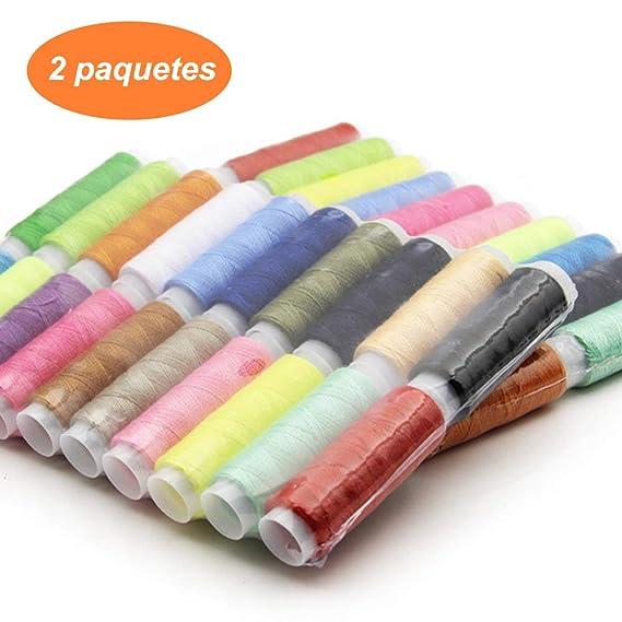 Mumusuki 50 Hilos de Coser de poli/éster de Color 120 Yardas Cada uno Carretes Kit de Costura para Coser a Mano y m/áquina