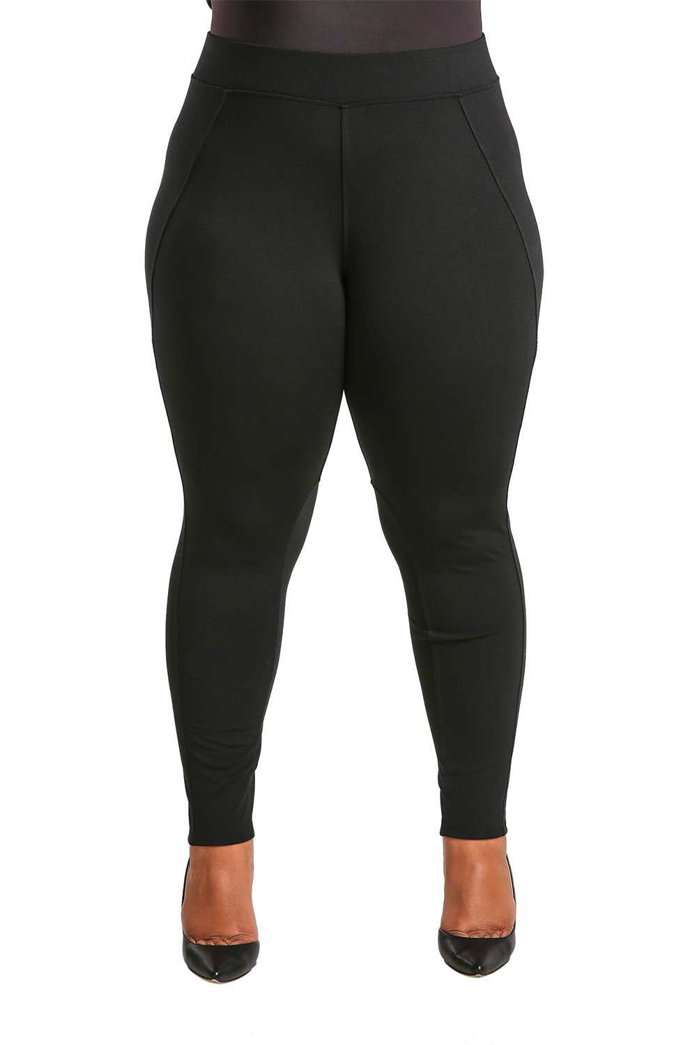 Poetic Justice Plus Size Women's Curvy Fit Black Stretch Ponte Pull On Moto Legging Size 2X