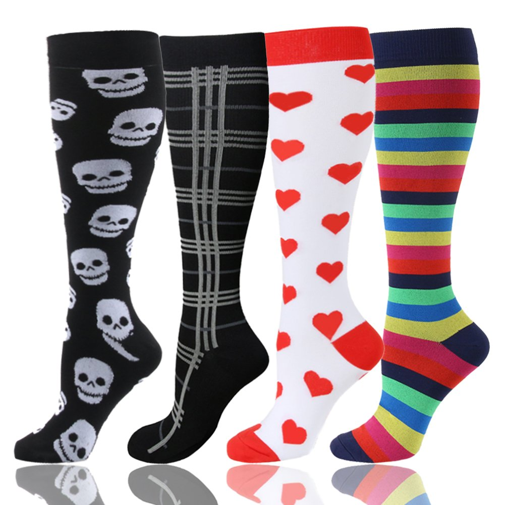 Graduated Compression Socks for Women & Men 20-30 mmHg - Moderate Compression Stockings for Running, Crossfit, Travel- Suits, Nurse, Maternity Pregnancy, Shin Splints (Mix Skull Heart,4 Pairs, L-XL)