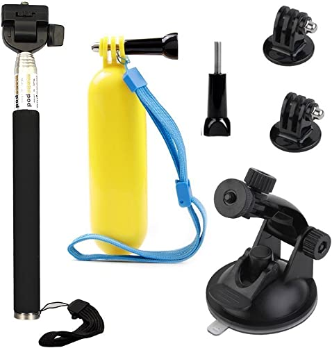 VVHOOY Float Handle Grip Adjustable Selfie Stick Monopod Car Suction Cup Mount Holder Compatible with AKASO Brave 4 5 V50 Native 4K Campark X15 X20 Crosstour Waterproof Action Camera Accessories