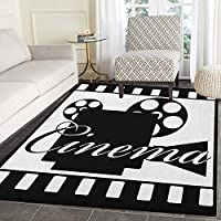 Movie Theater Non Slip Rugs Monochrome Cinema Projector inside a Strip Frame Abstract Geometric Pattern Door Mats for inside Non Slip Backing 5x6 Black White
