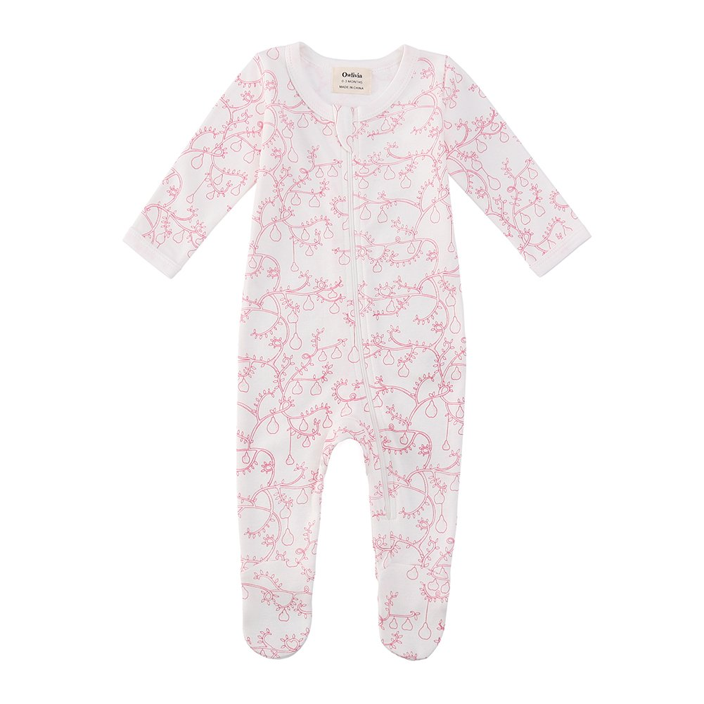 Owlivia Organic Cotton Baby Boy Girl Zip Front Sleep 'N Play, Footed Sleeper, Long Sleeve (Size 0-18 Month)