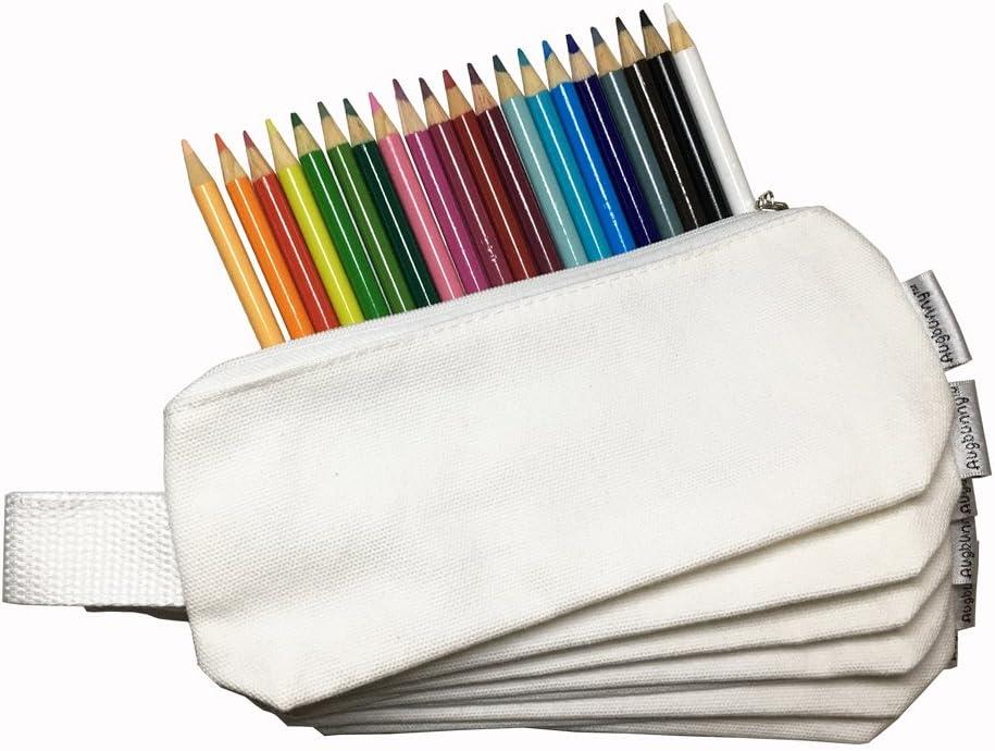 Estuche de lápices multiusos de Augbunny, 100 % de algodón, con cremallera, 340 g, de tela, para papelería o maquillaje; 6 unidades, color blanco: Amazon.es: Oficina y papelería