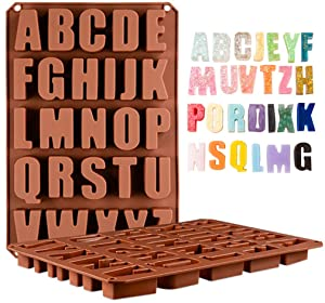 Wocuz 26 Cavities Alphabet Silicone Cake Baking Mold Cake Pan Muffin Cups Handmade Soap Moulds Biscuit Chocolate Ice Cube Tray DIY Mold