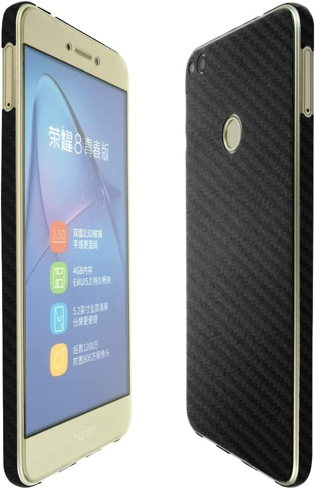 Full Coverage Skinomi Black Carbon Fiber Full Body Skin Compatible with Huawei Honor 5X TechSkin with Anti-Bubble Clear Film Screen Protector