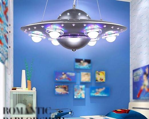 FGSGZ Lámpara Para Colgar La Lámpara De La Nave Espacial Ovni Creativo De Dibujos Animados De Los Niños De Dormitorio Luces Niños Sala De Iluminación De ...