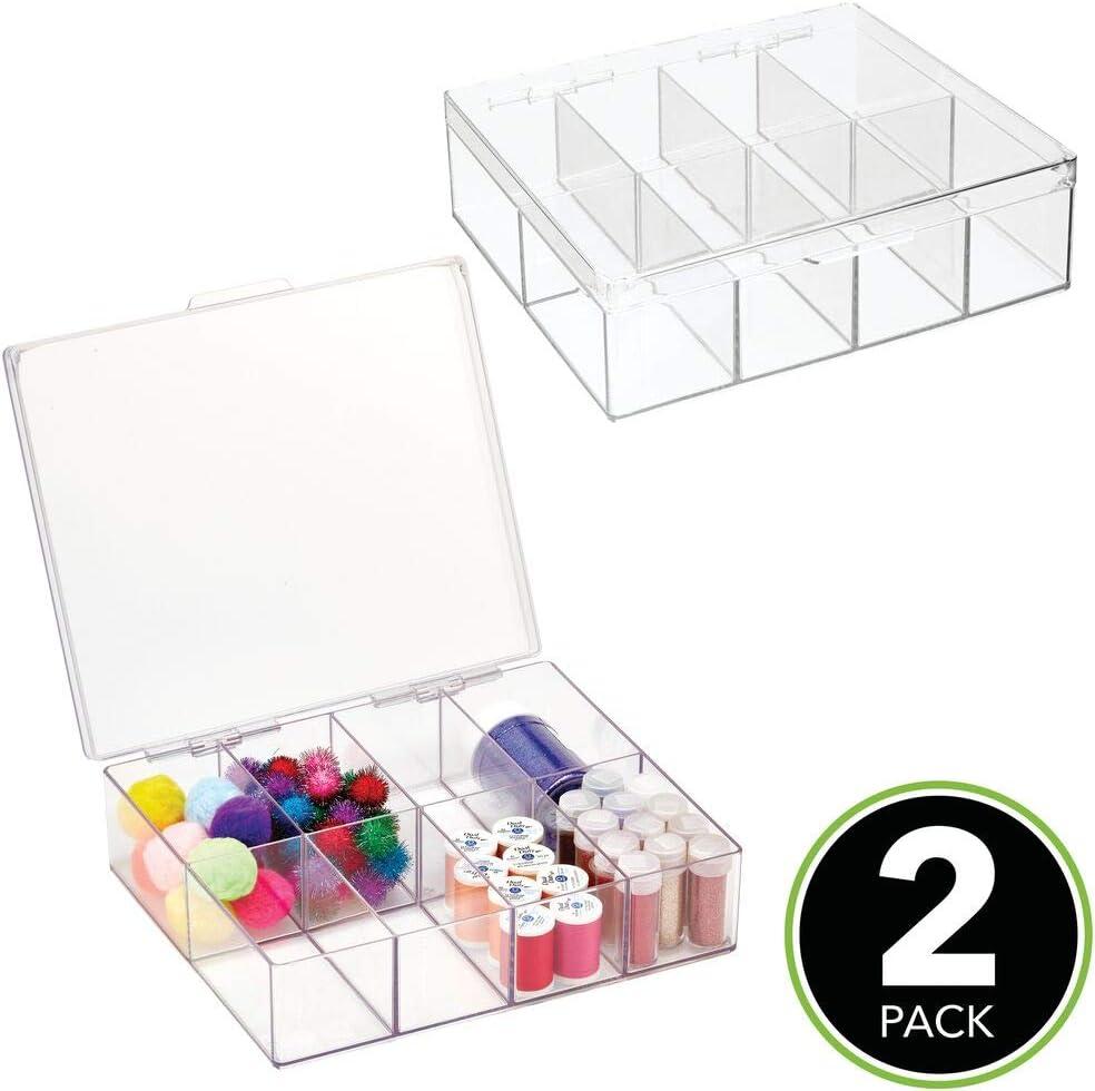 mDesign Juego de 2 cajas con compartimentos para costura y ...