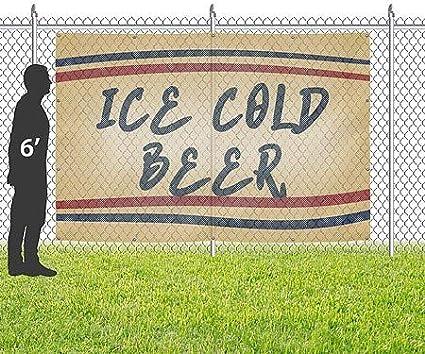 Nostalgia Stripes Wind-Resistant Outdoor Mesh Vinyl Banner Ice Cold Beer 12x8 CGSignLab