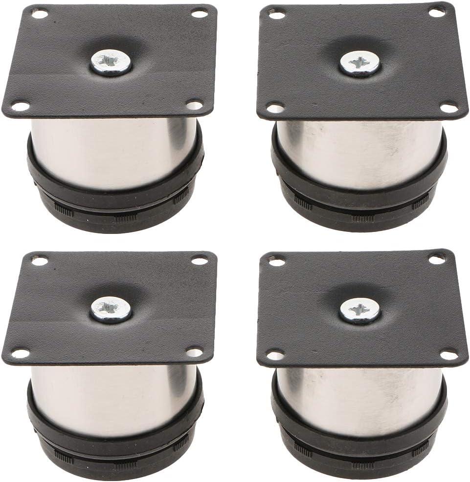 4x Muebles Redondos Pies Gabinete Metal Patas De Pie Acero Inoxidable Ajustable 2-10 cm