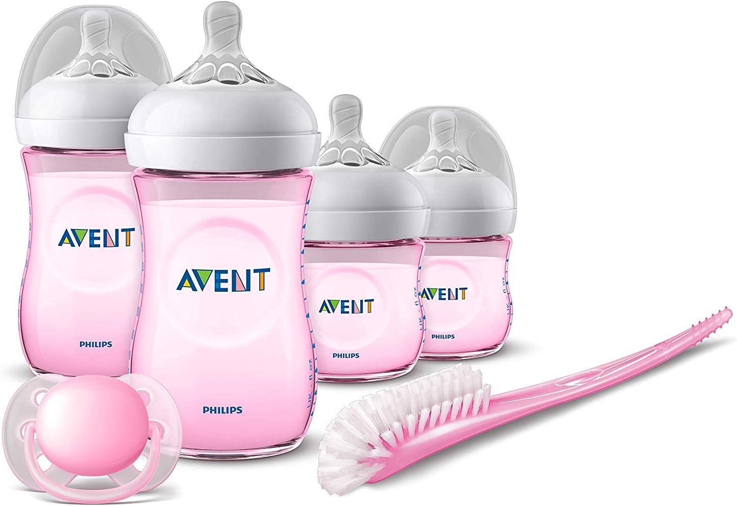 Philips Avent SCD301/03 - Set de recién nacido gama natural, 4 biberones, chupete y escobilla, rosa