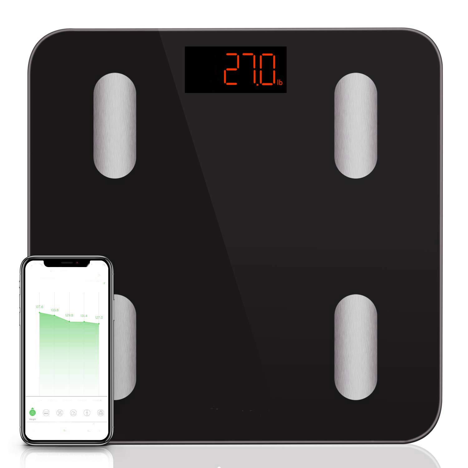 AMGS Body Composition Scales Smart Wireless Bluetooth Accurate Home Bathroom Scale Weight Analyzer Fat Monitor Muscle Bone Mass Metabolic Age Battery Operated LED 400lb & e-Book by Amglobalsupplies
