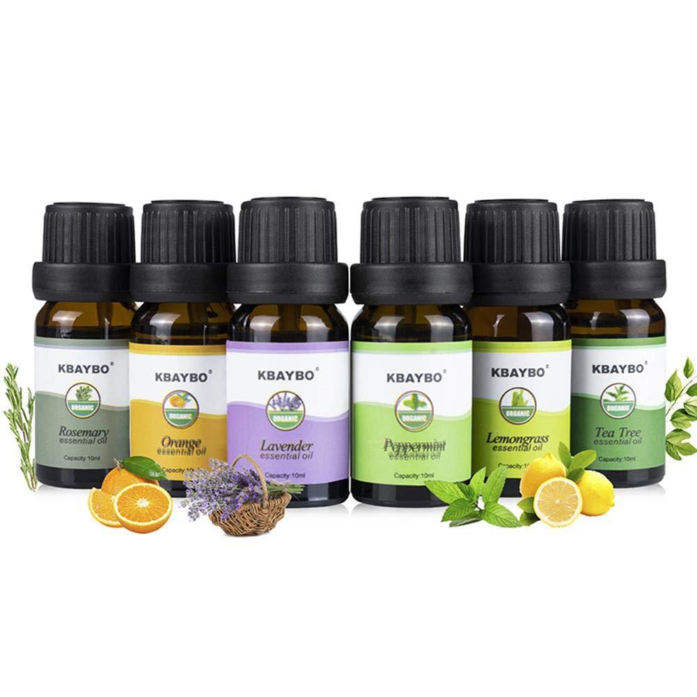 Pflanzen ätherische Öle Set, natürliche Aromatherapie Duft Licht Luftbefeuchter Wasserlösliche Aromatherapie (6 x 10 ml Öle, reiner Lavendel, Orange, Teebaum, Zitronengras, Pfefferminze, Rosmarin) SAWEY