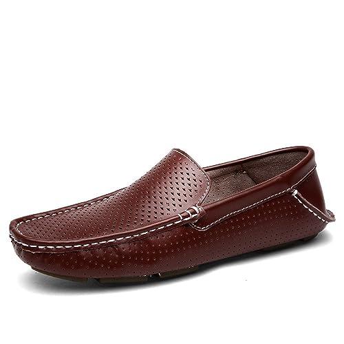 Xinke Mocasines para Hombres Zapatos Casuales para Barcos Cuero Genuino Slip On Driving Moccasins Ahueca hacia Fuera los Planos Respirables: Amazon.es: ...