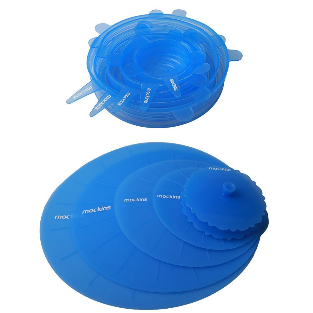 mockins 12 Pack Silicone Covers | 5 Silicone Stretch Lids & 7 Suction Lids | The Reusable Silicone Huggers are Expandable To Fit Various Unique Shapes & Sizes To Keep Your Food Fresh & Tasty - Blue by Mockins (Image #2)