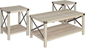 Walker Edison 3-Piece Rustic Wood and Metal Coffee Table Set in White Oak