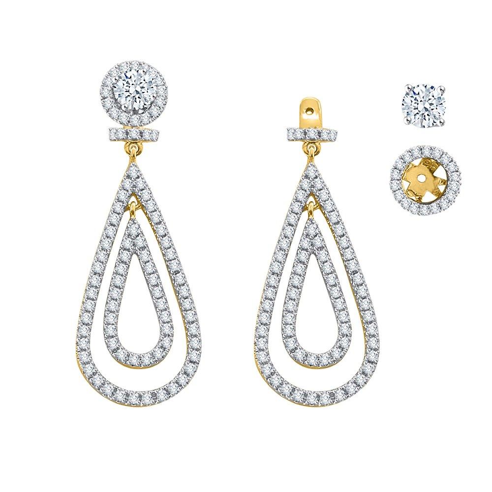 KATARINA Diamond Detachable Teardrop Earring Jackets in 14K Yellow Gold (1 cttw, I-J, I1-I2)