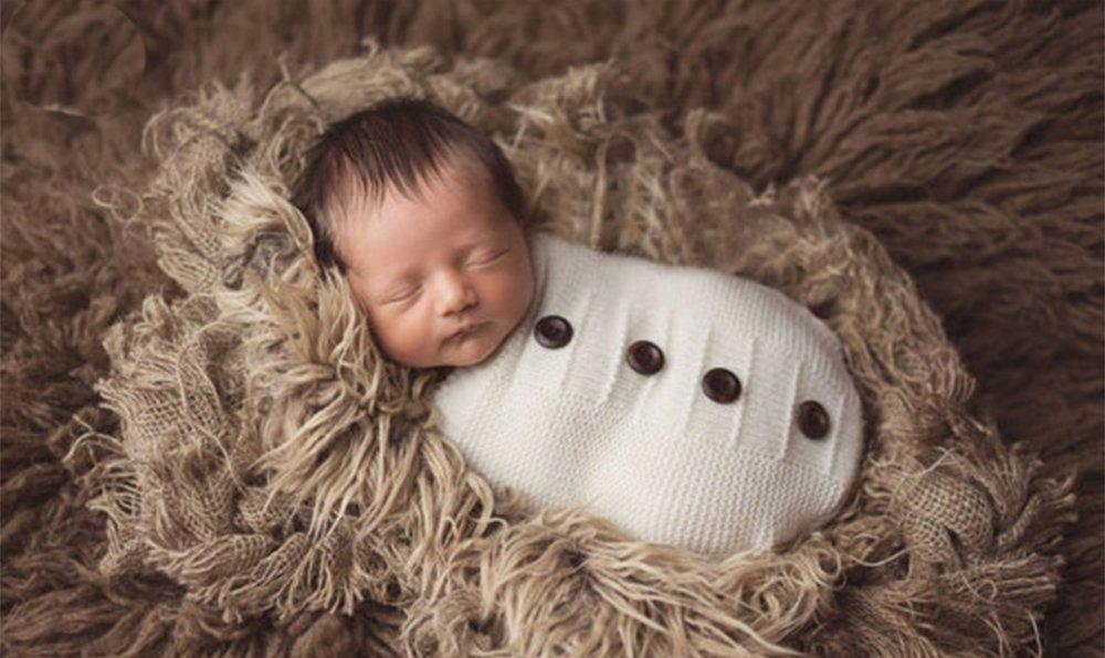Newborn Baby Sleeping Bag Photography Photo Prop Wrap Baby (Button)