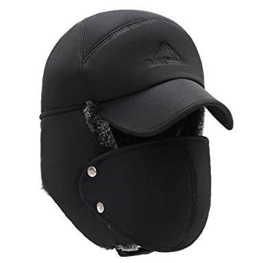 77b1353115727 Mens Winter Hats Ear Flaps Bomber Hats with Brim and Face Mask Warm Hat for  Men