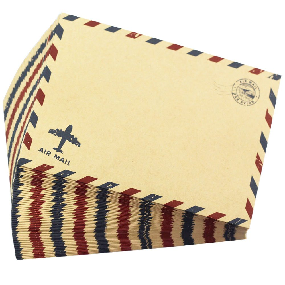 Bolbove Set of 50 Classic AirMail Vintage Style Kraft Paper Postcard Letter Envelopes Invitations (Brown) by Bolbove (Image #3)