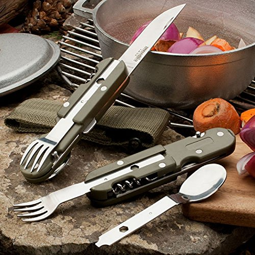 Camping Utensil Set 440 Stainless weighs 5 ounces - folds down and fits in a belt pouch - made in Italy by Garrett Wade