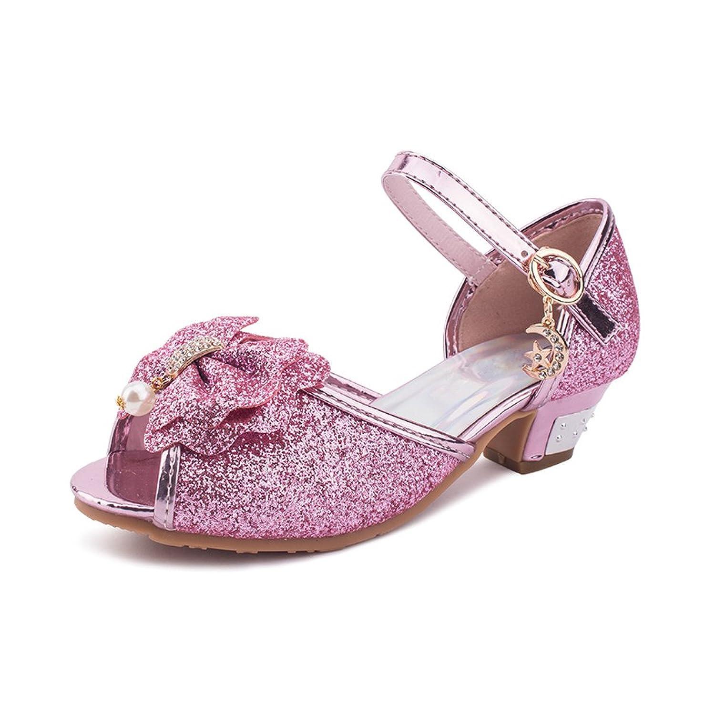 74616f9e5b1f2 OCHENTA Fille Sandales Princesse Chaussures Talon Bloc avec Pailliettes  Nœud Boucles