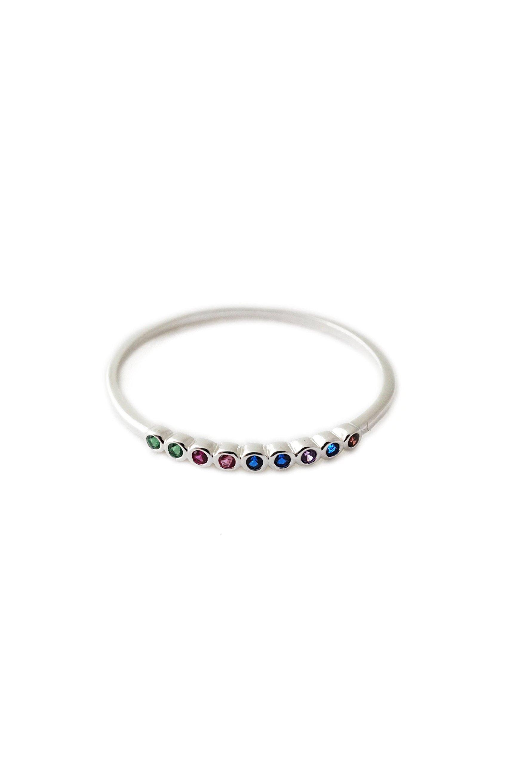 HONEYCAT Rainbow Tiny Crystal Bezel Ringin Sterling Silver Plate | Minimalist, Delicate Jewelry