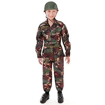 WORLD BOOK DAY BOYS ARMY SOLDIER COSTUME TROUSERS T-SHIRT HELMET VEST BTP CAMO