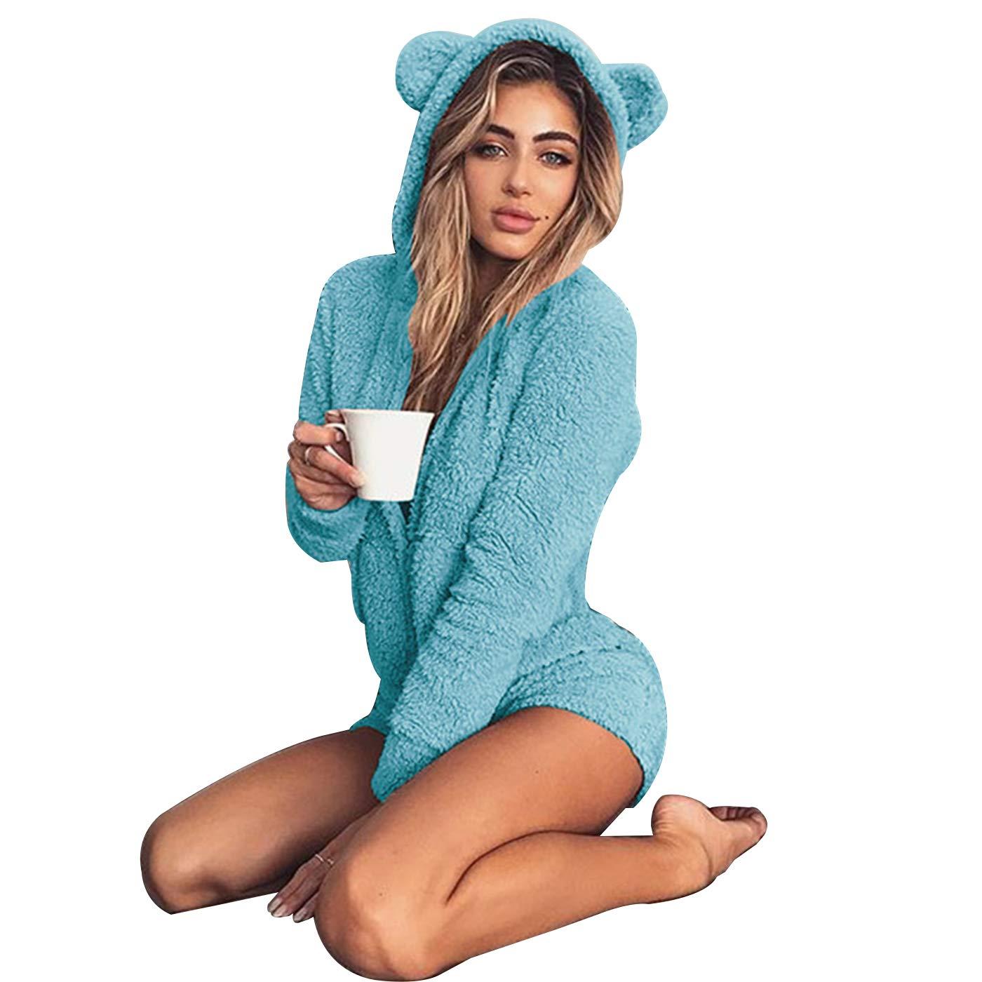 8e744b1bf7 Amazon.com  W. DRIZZLE Women Onesie Cute Fleece Pajamas Long Sleeve Zip Up  Hoodie and Shorts Sleepwear Jumpsuit Playsuit  Clothing
