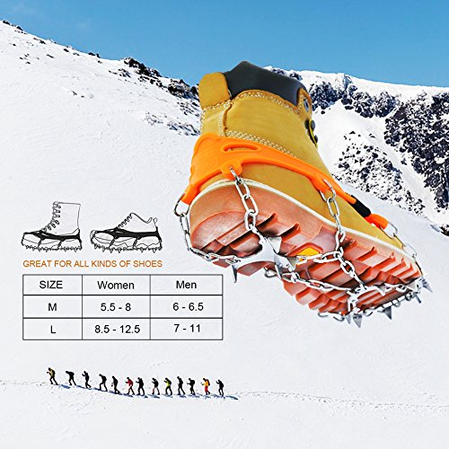 RENHAIGY Traction Ice Cleats Crampons Ice Snow Grips for Hiking Walking Climbing Fishing Jogging with Anti Slip Microspikes Stainless Steel Spikes