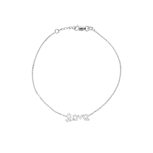 14k White Gold Mini Word Love Bracelet with Cubic Zirconia East2West Adjustable