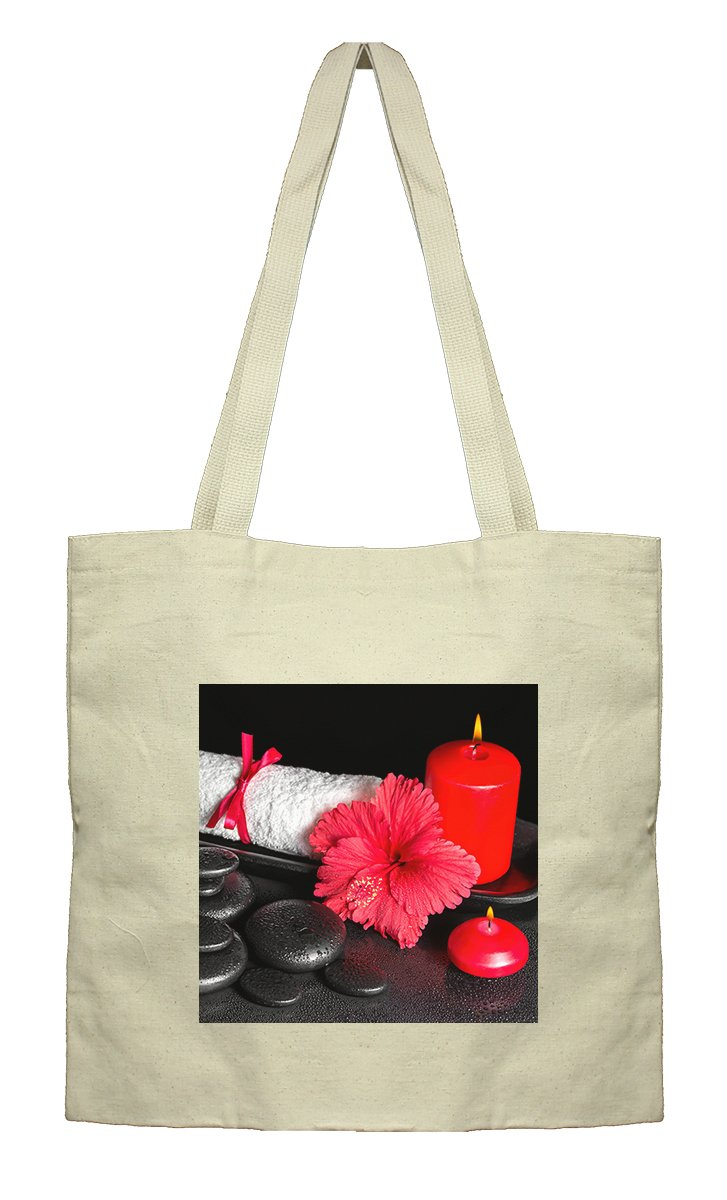 Flat Market Canvas Tote Spa Background Hibiscus Flower Candle By Style In Print