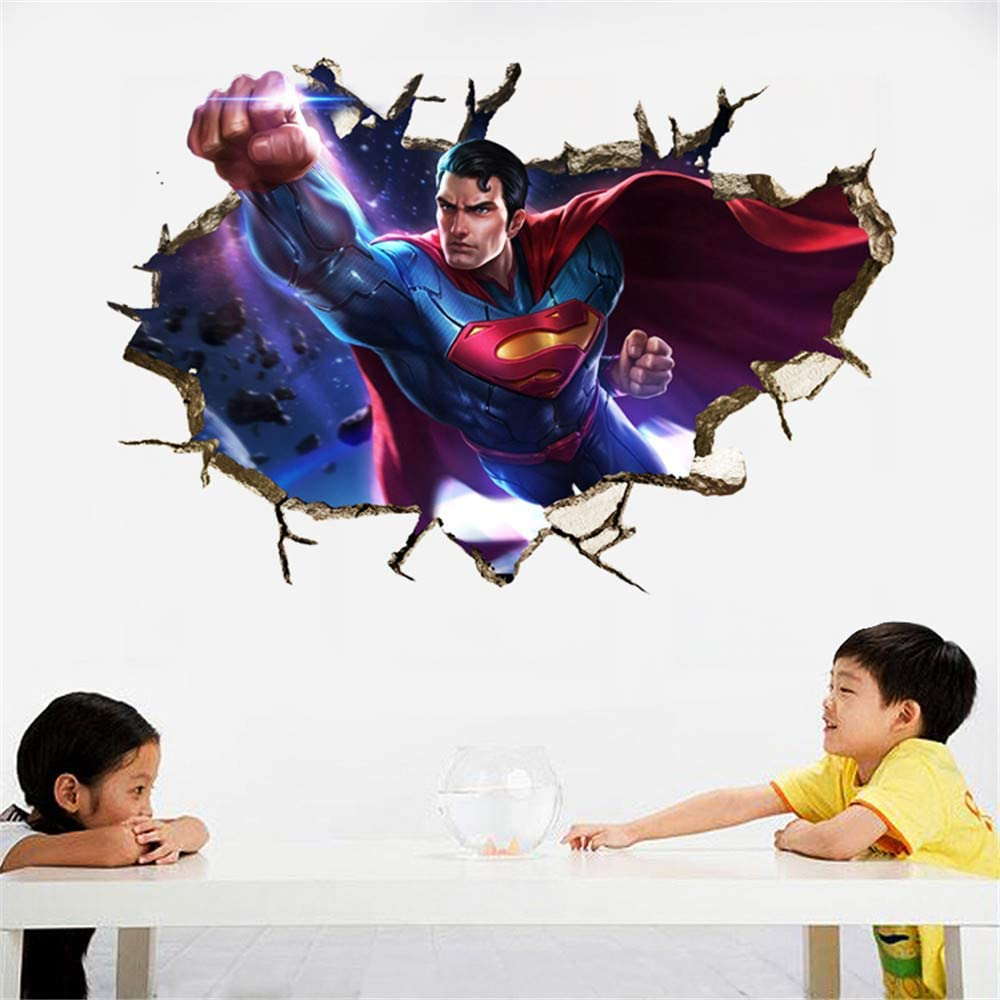 HU SHA Marvel Wall Stickers Superman Wall Decals, Excellent Vinyl Wall Decor for Boys Room Living Room (35.4 x 23.6 inches)