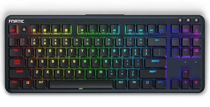 Fnatic miniSTREAK Teclado mecánico compacto (tenkeyless) para juegos Esports (interruptores Cherry MX marrón, iluminación RGB multicolor, ...