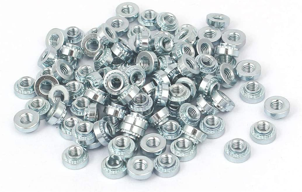 FidgetKute S-M3-2 Carbon Steel Self Clinching Rivet Nut 100pcs for 1.4mm Thin Plates