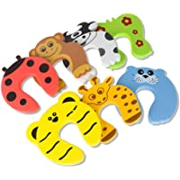 Kxtffeect Cartoon Safety Door Stopper 10 Pack Finger Pinch Guard Colorful Animal Foam Door Stop Cushion for Baby/Kids Safe (10)