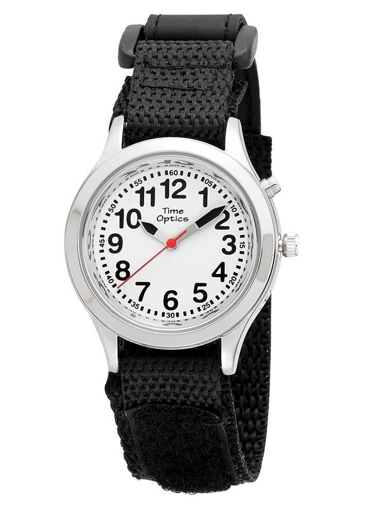 Youth (Kids) Talking Watch with Dual Voice/Alarm and Black Velcro Strap