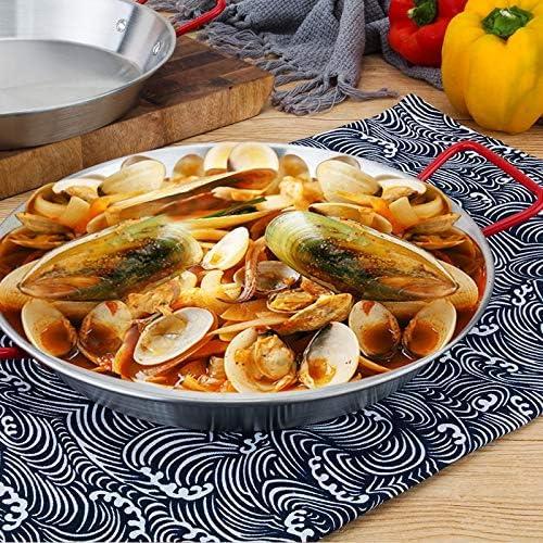 XXDTG Épais en acier inoxydable antiadhésif Paella Pan, fruits de mer Poêle, fer Pan Pan fromage, nourriture Plateau de fruits Container (Size : 22cm)