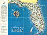A pictorial map of Florida, 1954 | Historic Antique Vintage Map Reprint