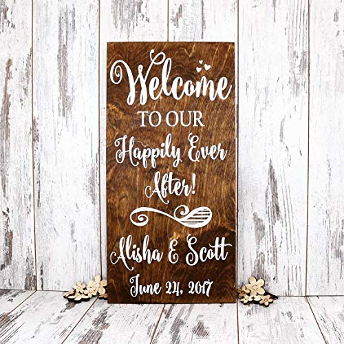 Welcome To Our Happily Ever After Personalized Wedding Sign Wood, Wedding Signs, Welcome Wedding Sign, Reception Sign, Disney Wedding Sign