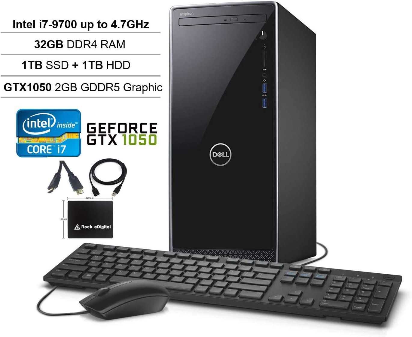 2020 Dell Inspiron Desktop Tower: 9th gen Intel 8-Core i7-9700, 32GB RAM, 1TB SSD + 1TB HDD Dual Drive, NVIDIA GeForce GTX 1050 Graphics, WiFi, Bluetooth, DVDRW, Win 10 w/Rock eDigital Accessories