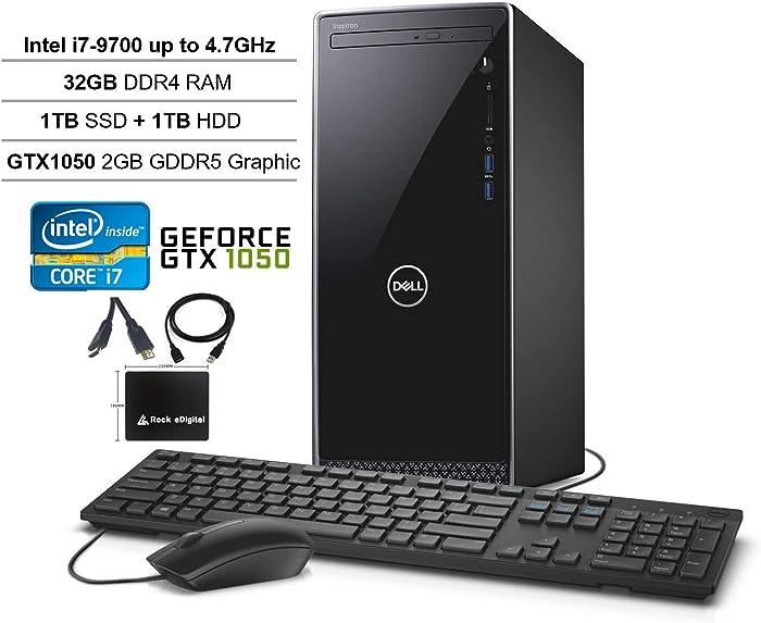 2020 Dell Inspiron Desktop Tower: 9th gen Intel 8-Core i7-9700, 32GB RAM, 1TB SSD + 1TB HDD Dual Drive, NVIDIA GeForce GTX 1050 Graphics, WiFi, Bluetooth, DVDRW, Win 10 w/Rock eDigital Accessories