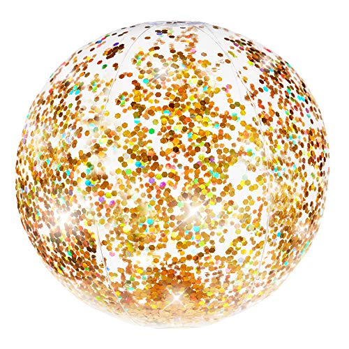 PoolCandy Gold Holographic Glitter Beach Ball - Inflatable Jumbo Beach Pool Ball - Glitter Sparkles and Shines in the Sun - Pool Toy and Decoration