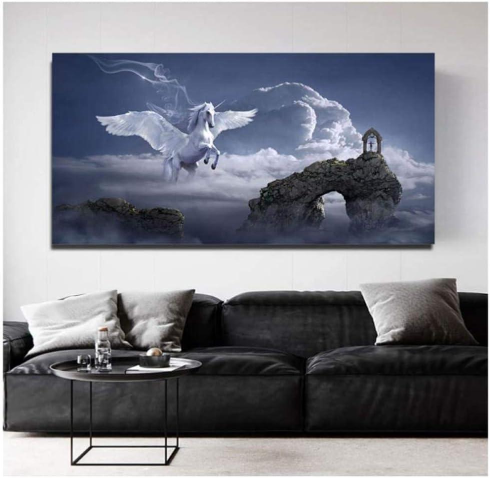 SXXRZA Lienzo Arte de la Pared 60x120cm sin Marco Animal Mitología Griega Imágenes de Caballos alados Pinturas de Caballos Blancos Carteles de ángeles e Impresiones para el Arte de la Sala de Estar