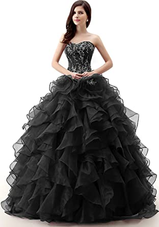 0e4e05856c8 Okaybrial Women s 15 Dresses Quinceanera Dresses Embroidery Beaded Ruffle  Organza Ball Gown Dresses Black