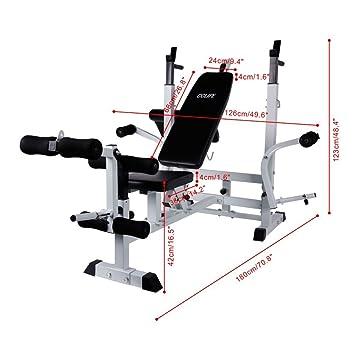 CCLIFE Banco de Musculación Banco de Entrenamiento Centro Regulable Banco Fitness de Multifunción: Amazon.es: Deportes y aire libre