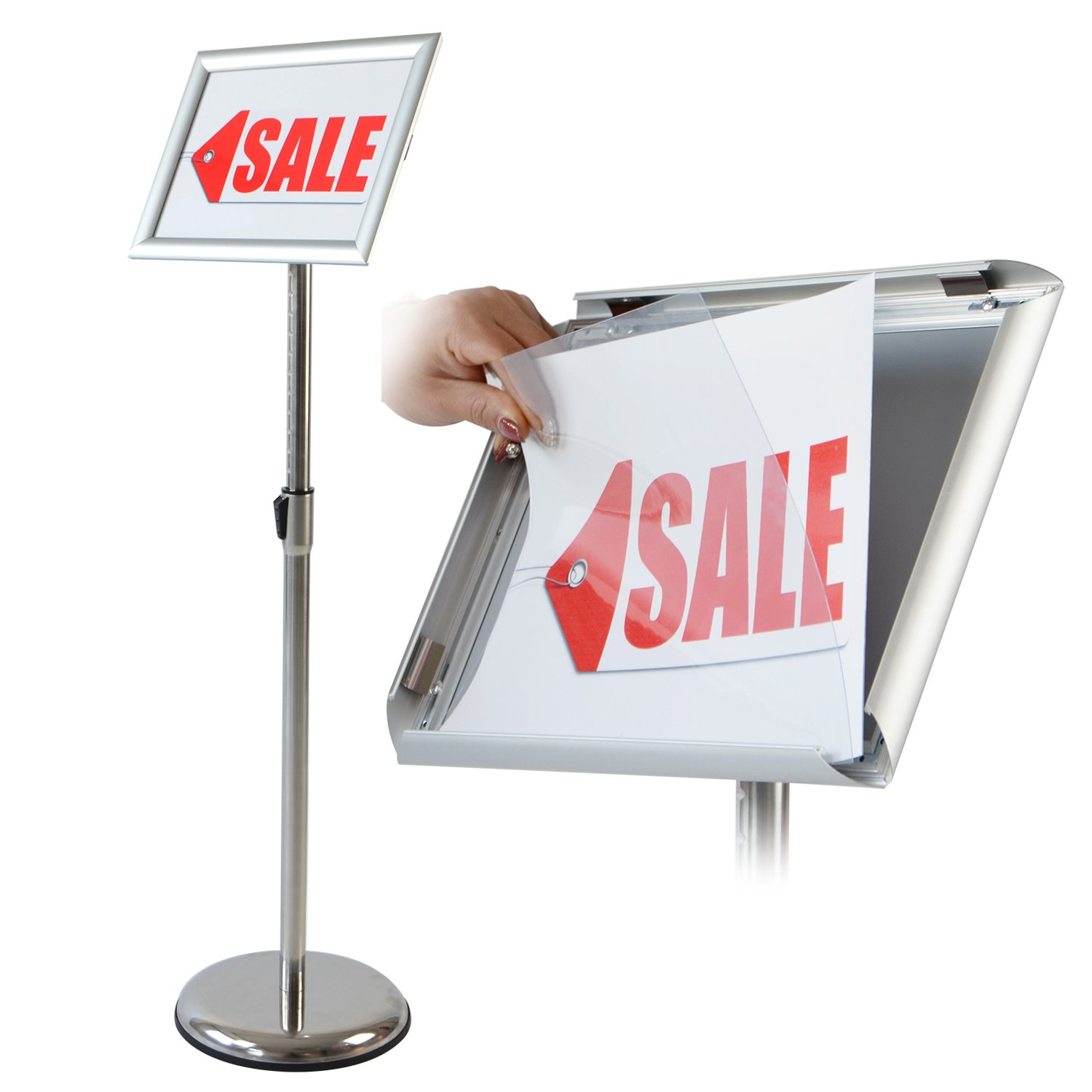 T-Sign Adjustable Pedestal Poster Stand Aluminum Snap Open Frame For 8.5 x 11 Inches Graphics, Both Vertical and Horizontal View Sign Displayed – Color Silver, Round Base