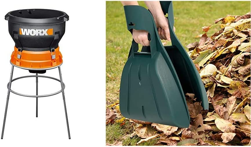 WORX WG430 13 Amp Foldable Bladeless Electric Leaf Mulcher, Red & Pure Garden 50-114 Durable Gorilla Pesticide for Scooping Leaves, Spreading Mulch, Medical Surgical mask