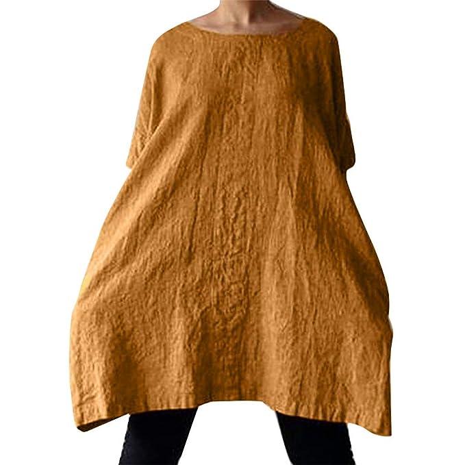 b3a2091c038 Geilisungren Vestidos de Fiesta Mujer Tallas Grandes, Casual Playa Bohemio  Vestidos Cuello Redondo Vestido de Camiseta Manga Corta Vacaciones Verano  ...