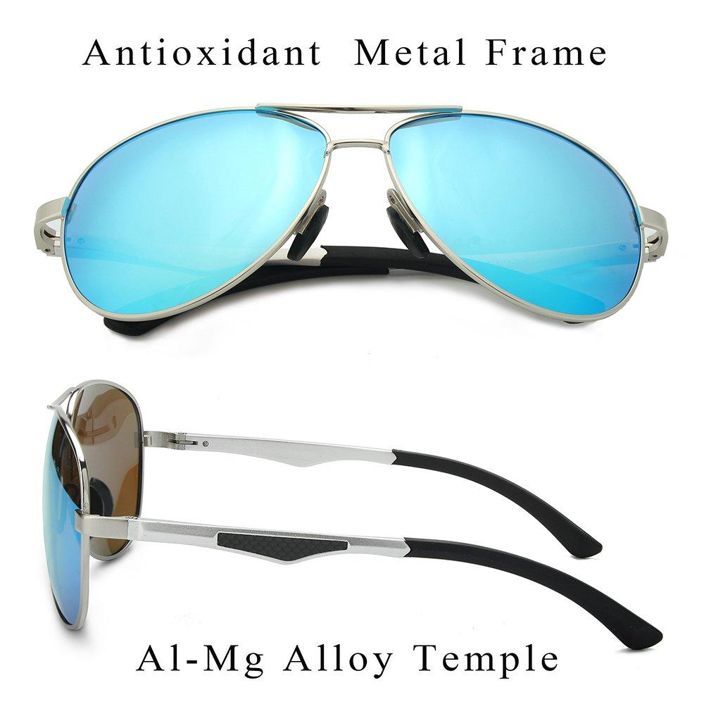 WELUK Aviator Sunglasses for Men Polarized Military Mirrored Pilot Retro Glasses (Silver & Blue, 62)